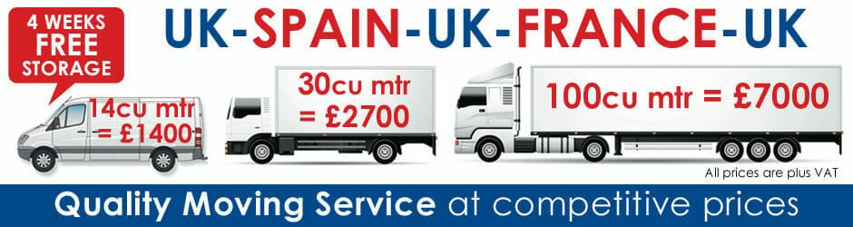 Removal prices Spain